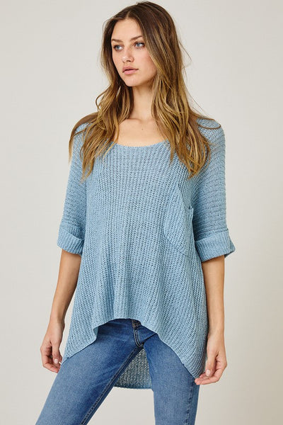 SOLID SHEER LIGHT WEIGHT SWEATER