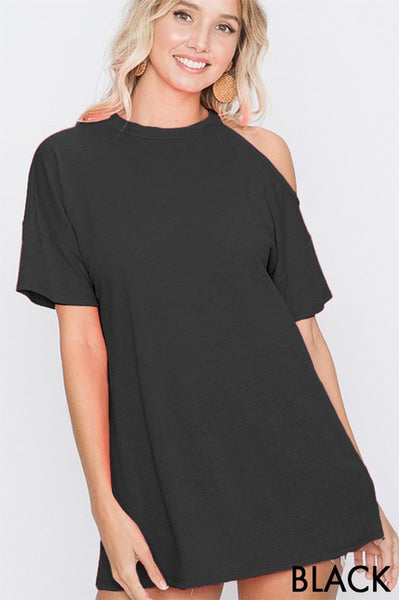 SHORT SLEEVE ONE COLD SHOULDER ROUND NECK TOP