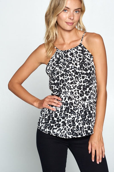 HALTER NECK LEOPARD BLACK AND WHITE PRINT