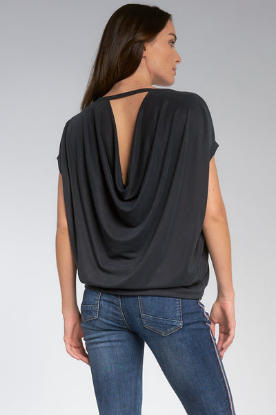ELAN SHORT SLEEVE TOP WITH COWL BACK DETAIL