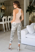 CAMOUFLAGE CRINKLE JOGGER WITH STUD SIDE STRIPE