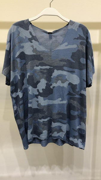 CAMO DRAPY VNECK TOP WITH LUREX TRIM DETAIL