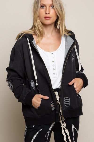 DISTRESSED ZIP-UP HOODIE WITH SIDE POCKETS