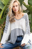 Pre order VNECK WHITE BLUE LIGHTWEIGHT SWEATER