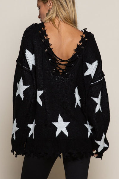 TIE FRONT AND BACK STAR SWEATER
