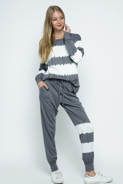 BLUE B PULLOVER KNIT TOP AND JOGGER SET