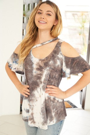 COLD SHOULDER TIE DYE CUTOUT DETAIL TOP