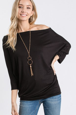Dolman Sleeve Off The Shoulder Top