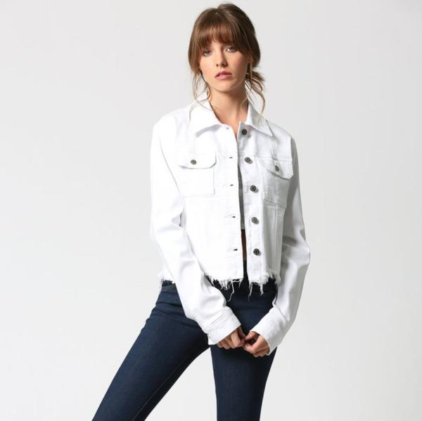 White Fitted Cropped Frayed Jacket