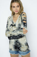 SLEEVE LASER CUT TIE DYE TOP WITH STONE DETAIL