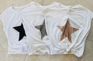 WHITE TIE FRONT STAR TSHIRT FROM ITALY