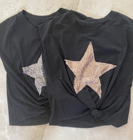 BLACK TIE FRONT STAR TSHIRT FROM ITALY
