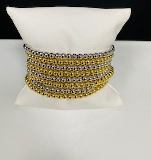 SILVER GOLD BEADED STRETCH BRACELETS