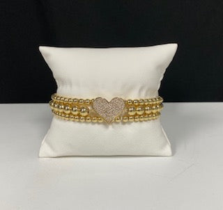 BEADED HEART BRACELET SET