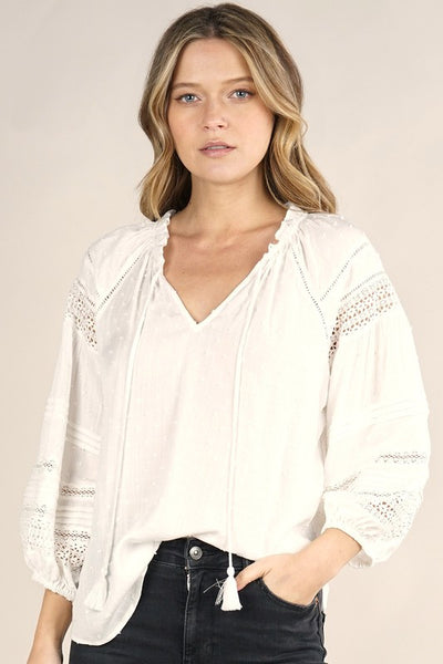 RAGLAN SLEEVE SPLIT NECK WITH LACE TRIM TOP