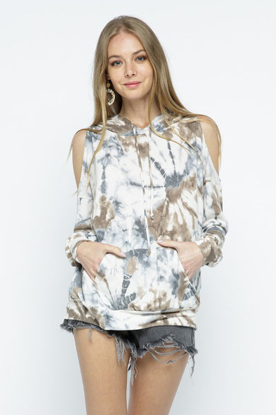 TIE DYE DROP SHOULDER TOP/COLD SHOULDER