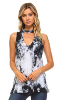 MOCK NECK TIE DYE SLEEVELESS TANK
