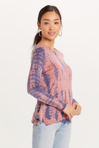 SALMON NAVY BAMBOO TIE DYE SWEATER WITH SIDE ZIPPERS