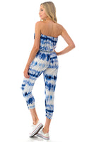 Blue and White Tie Dye Tube Jumpsuit