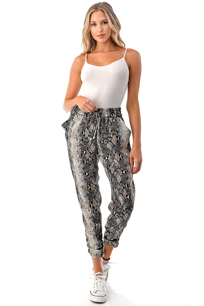 SNAKEPRINT RUCHED BOTTOM JOGGERS
