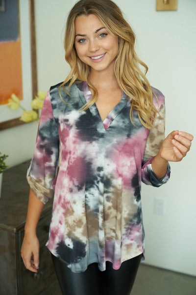 PINK BROWN TIE DYE GABY TOP