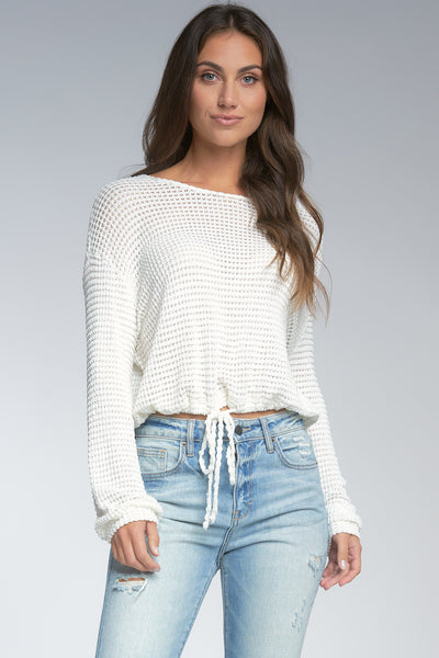 ELAN MESH DRAWSTRING TOP WITH OPEN DETAIL BACK