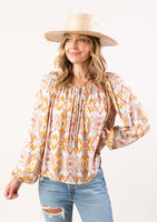 Geo Print Off the Shoulder Peasant Top