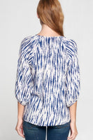 Blue and White Bamboo V Neck Top With 3/4 Sleeves