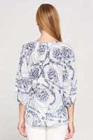 Paisley Print 3/4 Sleeve V Neck Top
