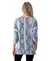 SNAKEPRINT 3/4 SLEEVE TOP WITH BACK DETAIL