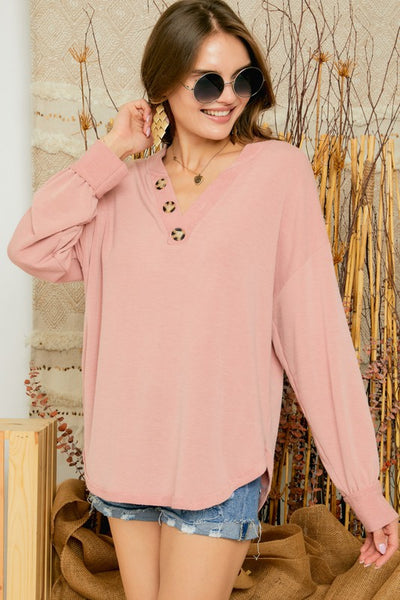 SOLID FRENCH TERRY BUTTON DOWN LONG SLEEVE TOP