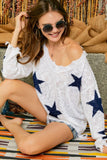 STAR PRINTED KNIT DISTRESSED LIGHTWEIGHT SWEATER