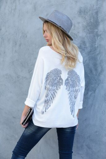 TOP WITH EMBELLISHED RHINESTONE WINGS
