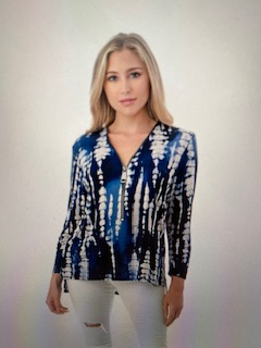 BLUE WHITE ZIP TOP