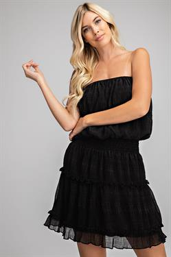 RUFFLED TUBE MINI DRESS