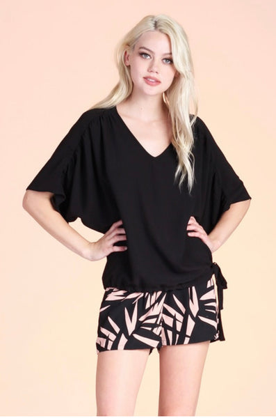 DRAWSTRING VNECK DOLMAN TOP