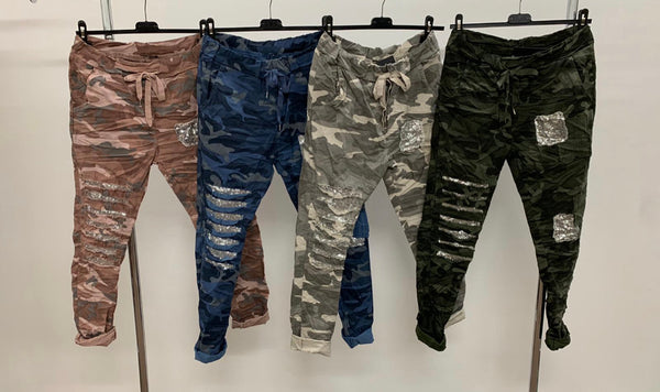 CAMO DRAWSTRING PANTS FROM ITALY W PATCH
