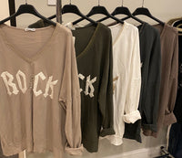 """ROCK"" VNECK LIGHTWEIGHT SWEATER FROM ITALY"