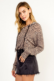 LEOPARD LIGHTWEIGHT CROPPED HOODIE