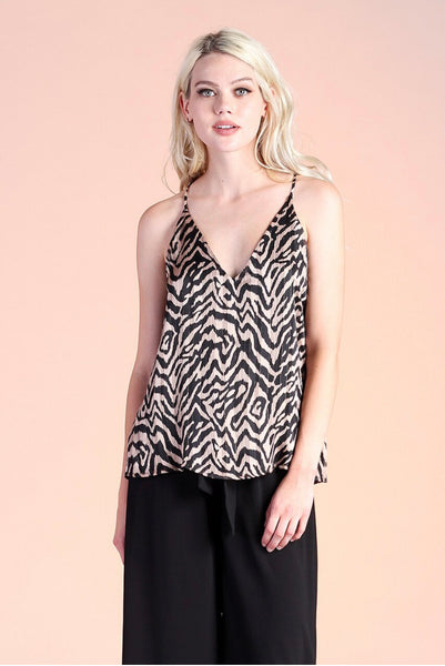 IRIDESCENT ANIMAL PRINT LUREX CHIFFON CAMI TOP