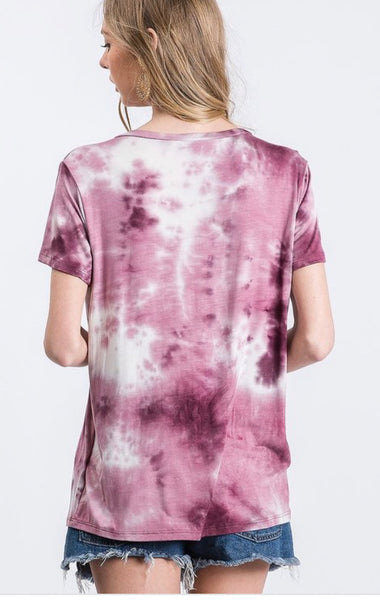 Wine Tie Dye Short Set