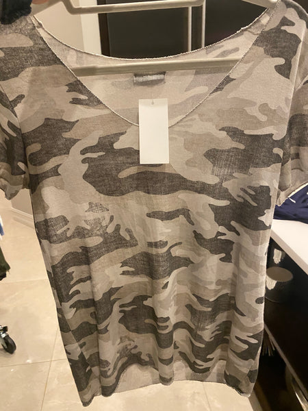 SHORT SLEEVE CAMO TOP FROM ITALY
