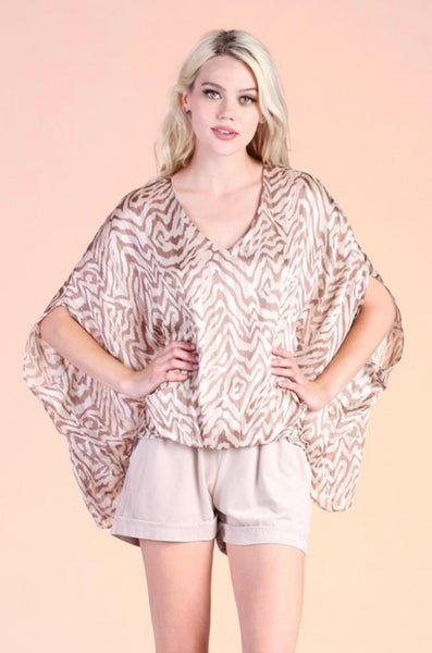 IRIDESCENT TIGER LUREX CAFTAN TOP
