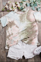TIE DYE TOP OLIVE MULTI WITH ROUND NECK