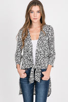ANIMAL CARDIGAN WITH SIDE SLIT AND SELF TIE