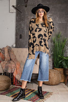 ANIMAL PRINT PATTERNED FRAYED SWEATER