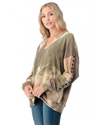 V-NECK LONG SLEEVE WITH GROMMET DETAIL TIE DYE