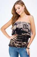 Black & Mocha Tie Dye Ruffle Tube Top