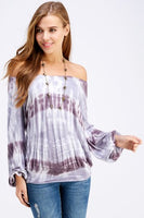 Off The Shoulder Eggplant Tie Dye