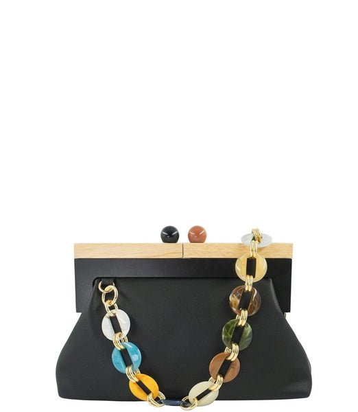 HANDBAG WITH WOOD CLOSURE AND MULTI COLOR LINK STRAP